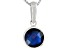 Womens 2.4ctw 8mm Round Blue Sapphire Sterling Silver Solitaire Pendant
