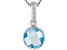 Womens 1.85ctw 8mm Round Blue Topaz Solid Sterling Silver Solitaire Pendant
