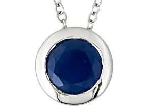 Blue Sapphire Sterling Silver Solitaire Pendant With Chain 1.25ctw.