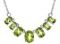 Green Peridot Sterling Silver Necklace. 2.33ctw