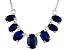 Blue Lab Created Sapphire Sterling Silver Necklace. 2.92ctw