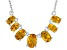 Yellow Citrine Sterling Silver Necklace. 2.08ctw
