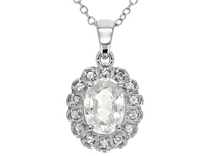 White Zircon Sterling Silver Pendant With Chain. 1.69ctw