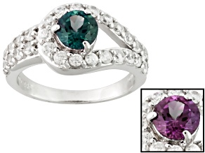Lab Created Color Change Alexandrite Sterling Silver Ring. 2.20ctw