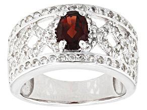 Red Garnet Sterling Silver Ring. 1.41ctw
