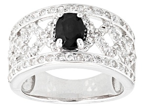 Black Spinel Sterling Silver Ring. 1.41ctw
