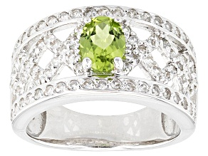 Green Peridot Sterling Silver Ring. 1.33ctw