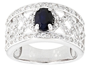 Blue Sapphire Sterling Silver Ring. 1.36ctw