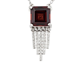 Red Garnet Sterling Silver Necklace 1.80ctw