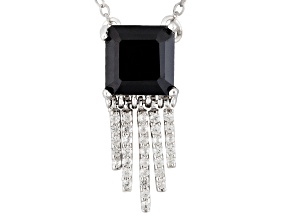 Black Spinel Sterling Silver Necklace. 1.59ctw