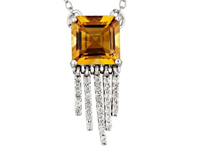 Yellow Citrine Sterling Silver Necklace 1.50ctw