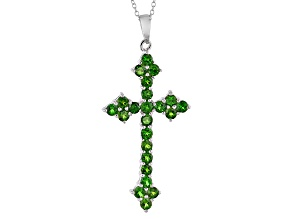 Green Chrome Diopside Sterling Silver Cross Pendant With Chain. 2.62ctw