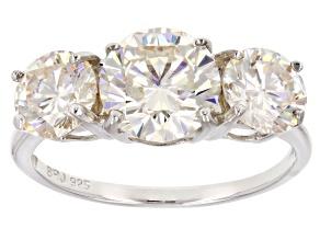 White Fabulite Strontium Titanate Sterling Silver Ring. 4.82ctw