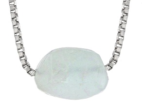 Blue Aquamarine Nugget Solitaire Silver Necklace