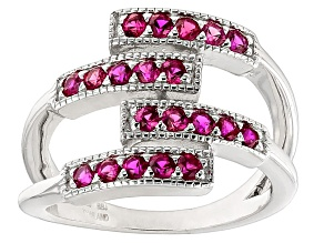 Red Lab Created Ruby Sterling Silver Band Ring 1.02ctw
