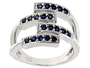 Blue Lab Created Sapphire Sterling Silver Band Ring .76ctw