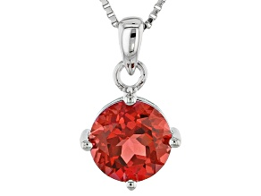 Orange Created Padparadscha Sapphire Silver Pendant With Chain 2.21ct