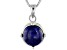 Blue Lapis Sterling Silver Solitaire Pendant With Chain