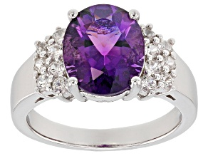 Purple Amethyst Rhodium Over Sterling Silver Ring 3.34ctw