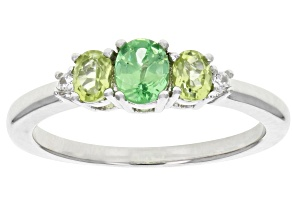 Green Mint Tsavorite Rhodium Over Sterling Silver Ring .52ctw