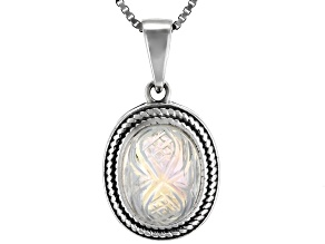 White Rainbow Moonstone Rhodium Over Sterling Silver Pendant with Chain