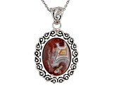 Multi-Color Agate Rhodium Over Sterling Silver Solitaire Pendant With Chain