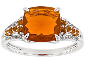 Orange Mexican Fire Opal Rhodium Over 14k White Gold Ring 1.62ctw