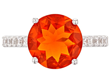 Orange Mexican Fire Opal Rhodium Over 14k White Gold Ring 2.32ctw