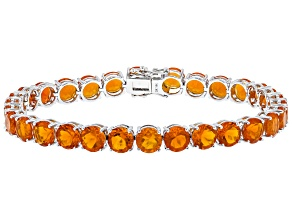 Orange Mexican Fire Opal Rhodium Over 14k White Gold Tennis Bracelet 13.98ctw