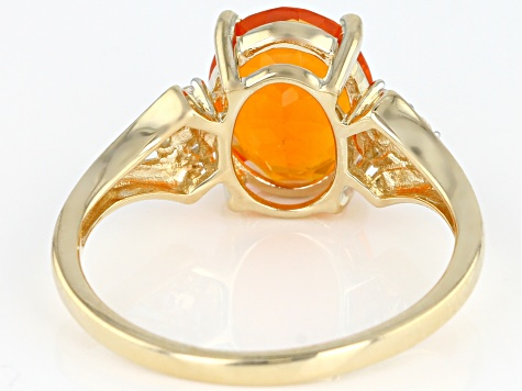 Orange Mexican Fire Opal 14k Yellow Gold Ring 1.66ctw