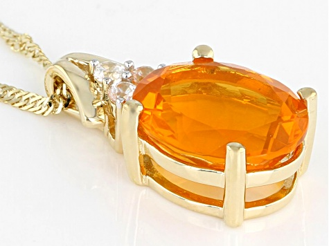 Orange Fire Opal 14k Yellow Gold Pendant With Chain 1.56ctw