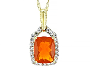 Orange Mexican Fire Opal 14k Yellow Gold Pendant With Chain 1.21ctw