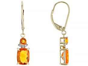 Orange Mexican Fire Opal 14k Yellow Gold Dangle Earrings 1.55ctw