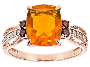 Orange Mexican Fire Opal 14k Rose Gold Ring 1.87ctw