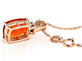 Orange Mexican Fire Opal 14k Rose Gold Pendant With Chain 1.42ctw