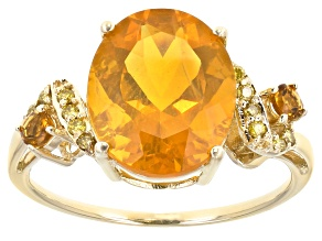 Orange Mexican Fire Opal 14k Yellow Gold Ring 3.28ctw