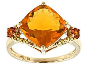 Orange Mexican Fire Opal 14k Yellow Gold Ring 3.32ctw