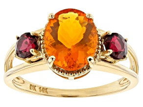 Orange Mexican Fire Opal 14k Yellow Gold Ring. 2.18ctw