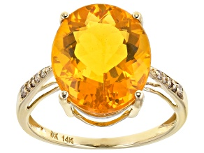 Orange Mexican Fire Opal 14k Yellow Gold Ring 4.75ctw