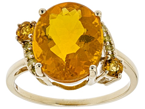 Orange Mexican Fire Opal 14k Yellow Gold Ring 3.97ctw