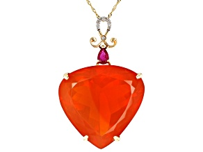 Orange Mexican Fire Opal 14K Yellow Gold Pendant With Chain 43.88ctw