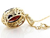 Red Garnet 14k Yellow Gold Pendant With Chain 4.72ctw