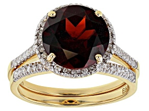 Red garnet 14k yellow gold set of 2 rings 3.62ctw