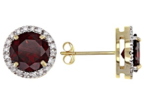 Red garnet 14k yellow gold earrings 3.53ctw