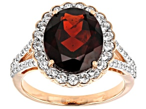 Red Garnet 14k Rose Gold Ring 5.23ctw