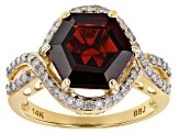 Red garnet 14k yellow gold ring 3.76ctw