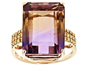 Bi-Color Ametrine 14k Yellow Gold Ring 12.18ctw