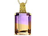 Bi-color Ametrine 14k Yellow Gold Pendant With Chain 11.97ctw