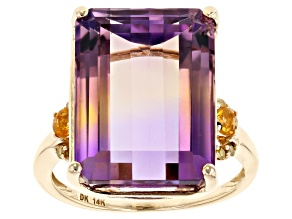 Bi-Color Ametrine 14k Yellow Gold Ring 15.49ctw
