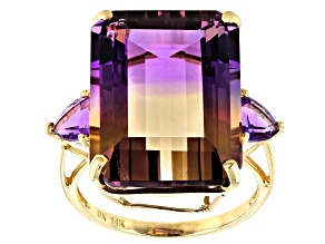 Bi-Color Ametrine 14k Yellow Gold Ring 21.07ctw